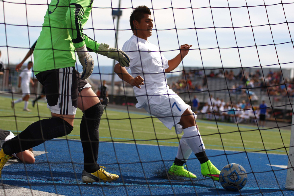 Dixie's Francisco Guzman (7) taps in an easy rebound for a goal in the first half, Dixie vs. Union, Soccer, St. George, Utah, Apr. 30, 2015 | Photo by Robert Hoppie, ASPpix.com, St. George News