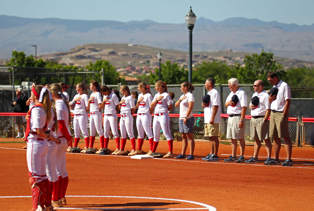 Dixie State University's softball team is having another monstrous year, file photo from DSU vs. Notre Dame de Namur University, Softball, St. George, Utah, Apr. 11, 2015 | Photo by Robert Hoppie, ASPpix.com, St. George News
