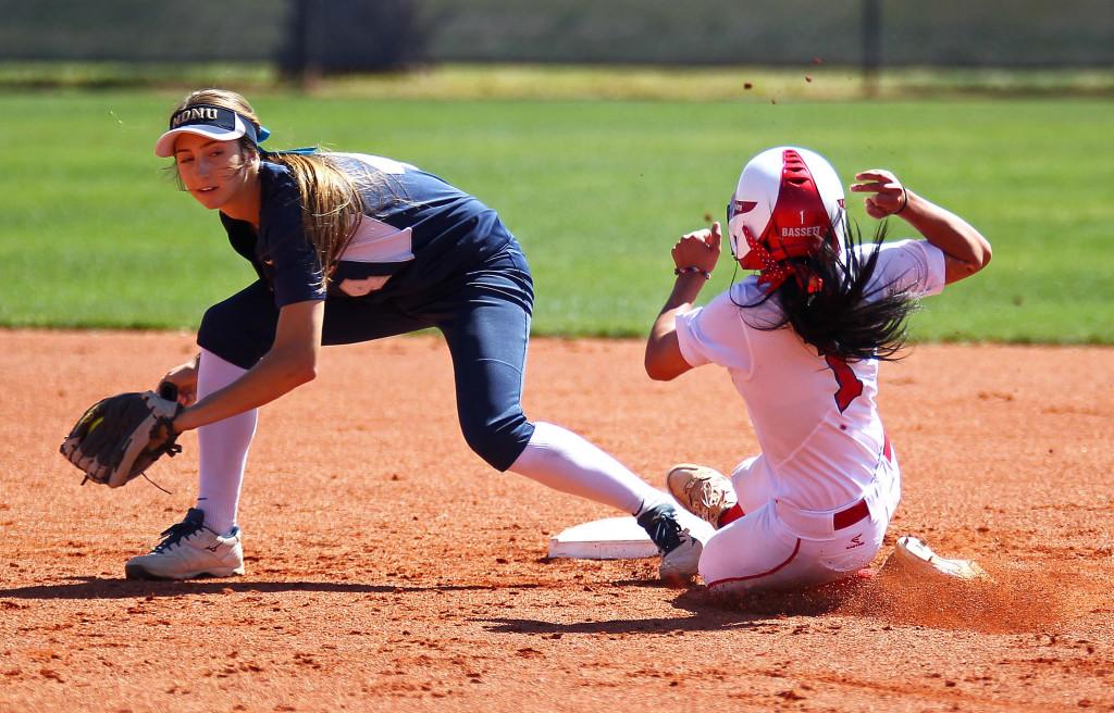 Janessa Barrett (1) steals second base for the Red Storm, Dixie State University vs. Notre Dame de Namur University, Softball, St. George, Utah, Apr. 11, 2015 | Photo by Robert Hoppie, ASPpix.com, St. George News