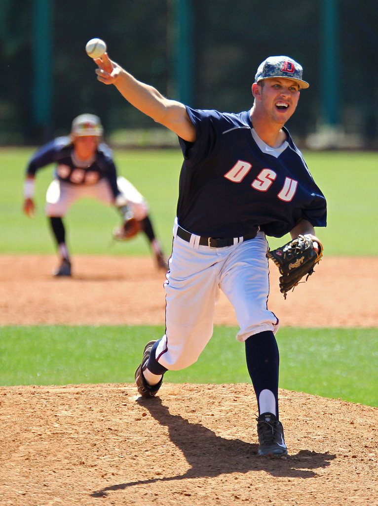 Red Storm relief pitcher Jeremy Alderman, file photo from Apr. 11, 2015 | Photo by Robert Hoppie, ASPpix.com, St. George News