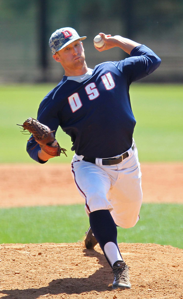 Bronson Anderson makes a relief appearance for the Red Storm, Dixie State University vs. California Baptist University, Baseball, St. George, Utah, Apr. 11, 2015   Photo by Robert Hoppie, ASPpix.com, St. George News