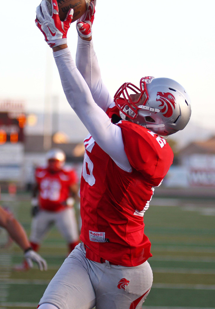 Dalton Groskreutz snags a Misi Tupe pass for the Zion Lions, file photo from Zion Lions vs. Wasatch Revolution, St. George, Utah, Apr. 11, 2015 | Photo by Robert Hoppie, ASPpix.com, St. George News