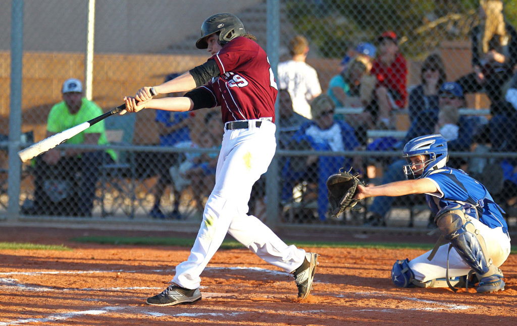 Conner Clark launches a two-run home run for the Panthers, Dixie vs. Pine View, Baseball, St. George, Utah, Apr. 17, 2015 | Photo by Robert Hoppie, ASPpix.com, St. George News