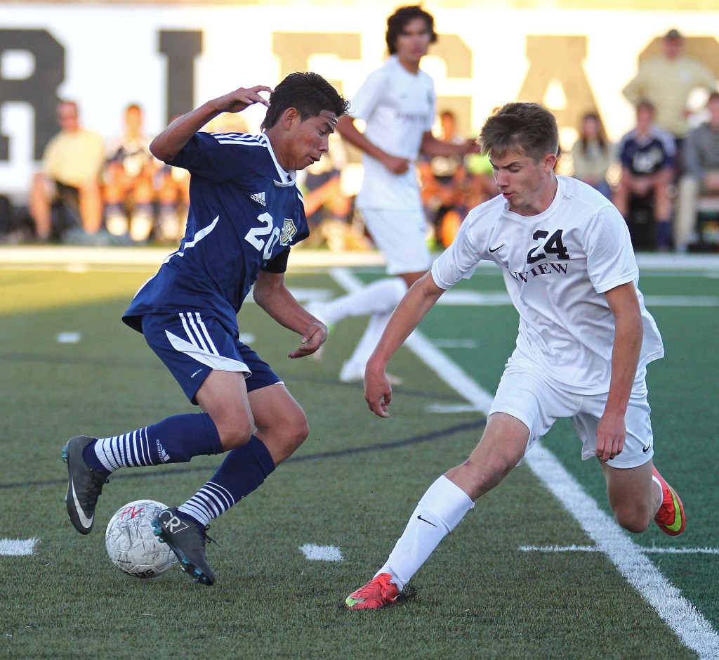 Kevin Guevara Chillin (20) and Easton Householder (24), Snow Canyon vs. Pine View, Soccer, St. George, Utah, Apr. 17, 2015 | Photo by Robert Hoppie, ASPpix.com, St. George News