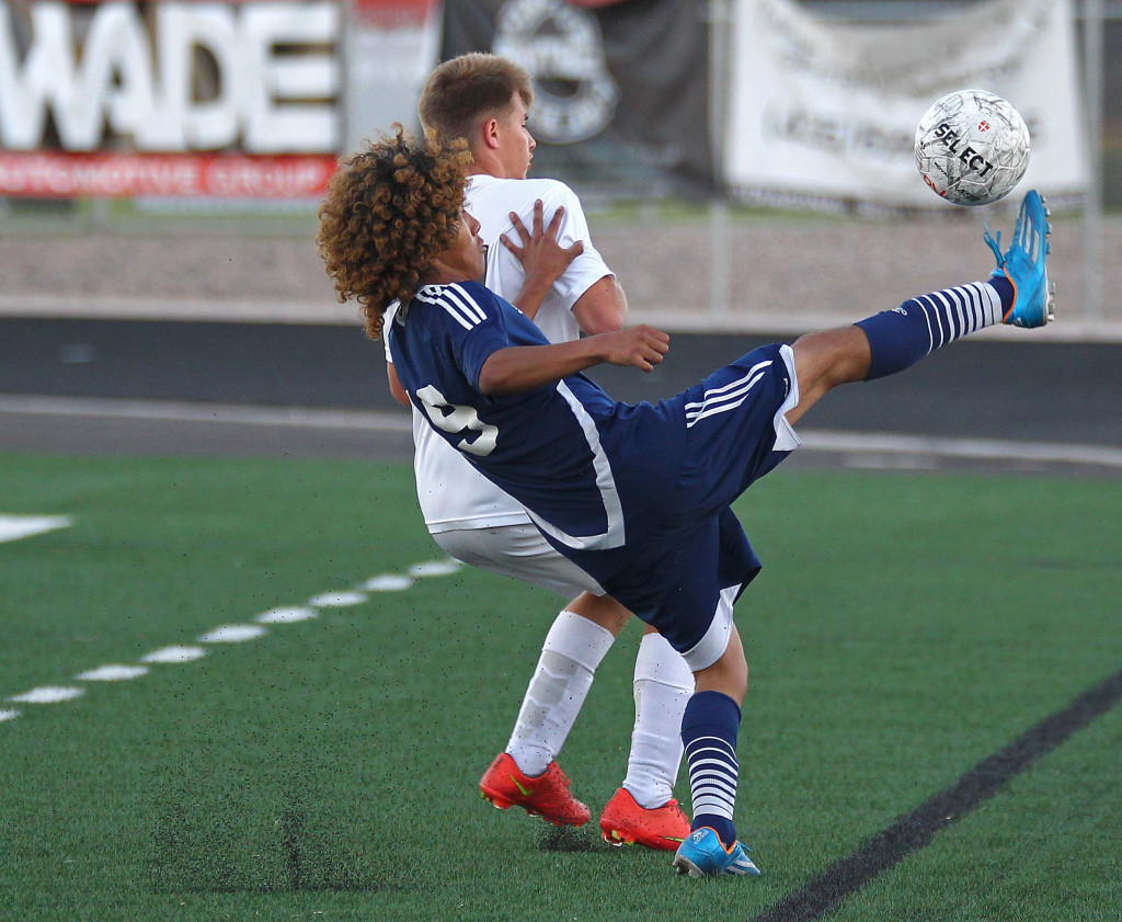 Axel Nino for Snow Canyon, Snow Canyon vs. Pine View, Soccer, St. George, Utah, Apr. 17, 2015 | Photo by Robert Hoppie, ASPpix.com, St. George News