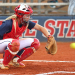 Dixie State catcher Marla Reiter, Dixie State University vs. Azusa Pacific University, Softball, St. George, Utah, Apr. 25, 2015 | Photo by Robert Hoppie, ASPpix.com, St. George News
