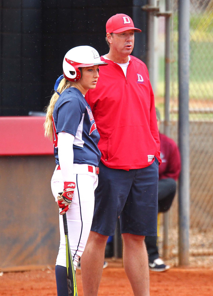 Red Storm head coach Randy Simkins discusses strategy with Autumn Woodfall, Dixie State University vs. Azusa Pacific University, Softball, St. George, Utah, Apr. 25, 2015 | Photo by Robert Hoppie, ASPpix.com, St. George News