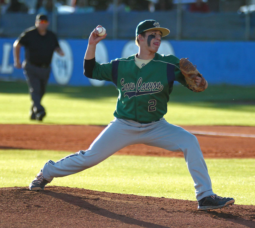 Nick Dolce (2) on the mound for Snow Canyon, Snow Canyon vs. Dixie, Baseball, St. George, Utah, Apr. 27, 2015 | Photo by Robert Hoppie, ASPpix.com, St. George News