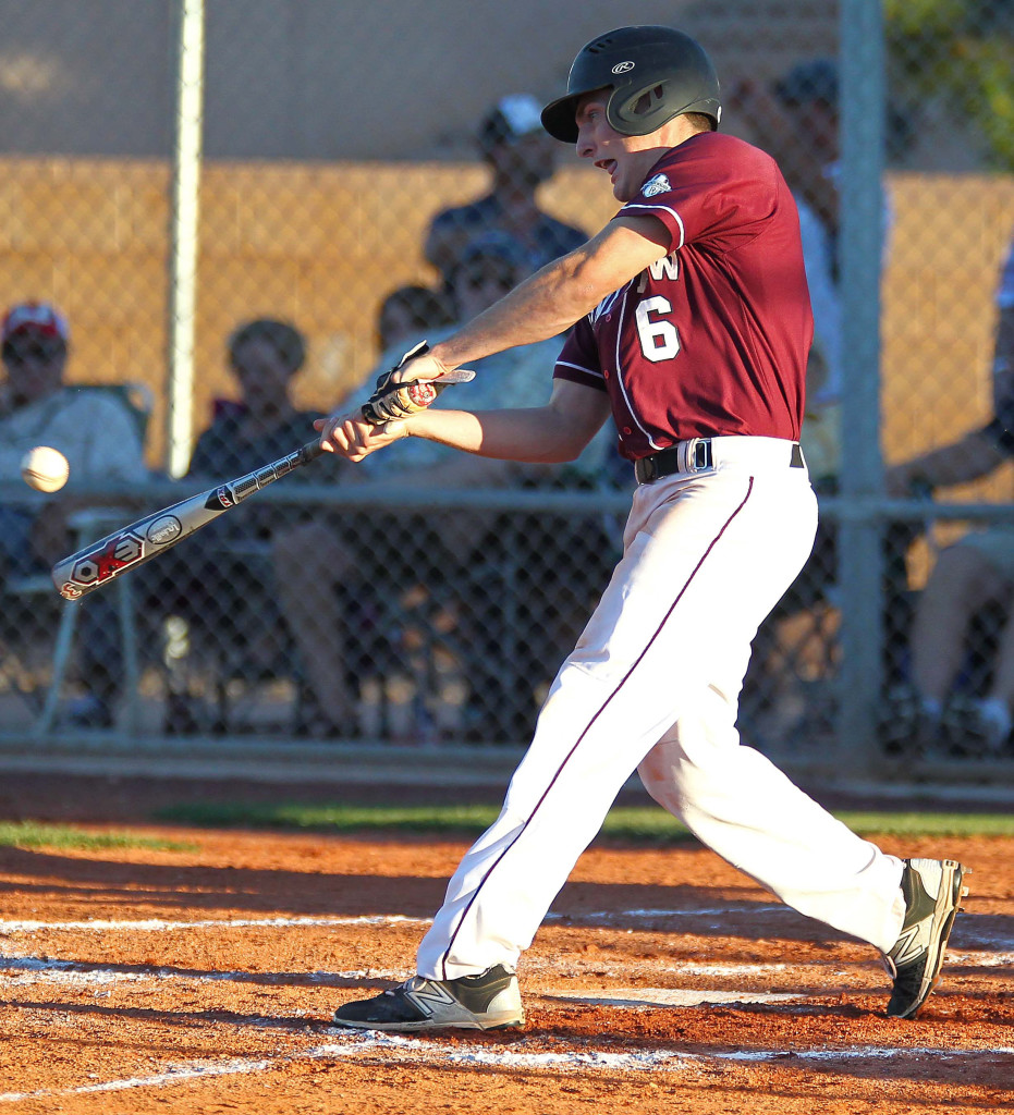 Blake Ence (6) with a hit for the Panthers, Desert Hills vs. Pine View, Baseball, St. George, Utah, Apr. 28, 2015 | Photo by Robert Hoppie, ASPpix.com, St. George News