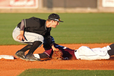 Tyler Johnston steals second base for the Panthers as Braiden Irvin takes the throw for the Thunder, Desert Hills vs. Pine View, Baseball, St. George, Utah, Apr. 28, 2015 | Photo by Robert Hoppie, ASPpix.com, St. George News