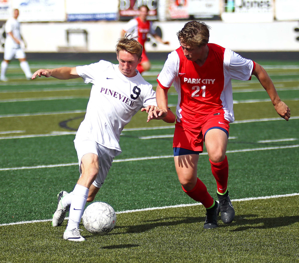 Michael Wade (9) heads towards the goal for Pine View, Pine View vs. Park City, Soccer, St. George, Utah, Apr. 30, 2015 | Photo by Robert Hoppie, ASPpix.com, St. George News