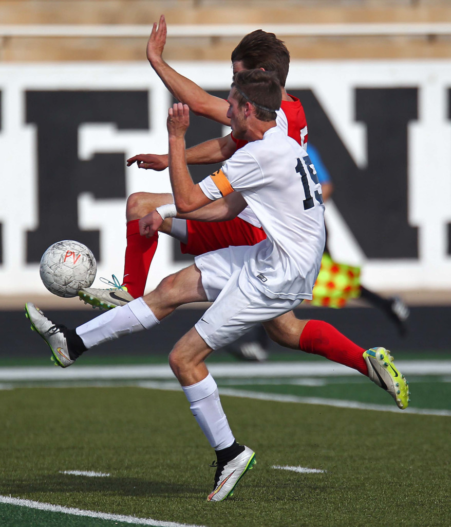 Pine View's Ethan Baer battles a Park City player for a loose ball, Pine View vs. Park City, Soccer, St. George, Utah, Apr. 30, 2015 | Photo by Robert Hoppie, ASPpix.com, St. George News