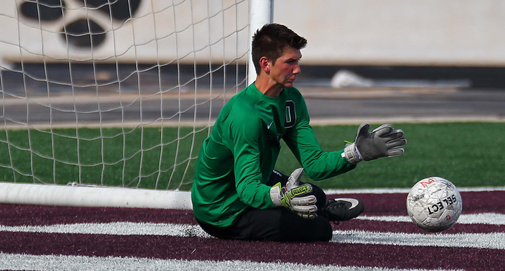 Pine View goalkeeper Riley Taylor makes a big save during the second half, Pine View vs. Park City, Soccer, St. George, Utah, Apr. 30, 2015 | Photo by Robert Hoppie, ASPpix.com, St. George News