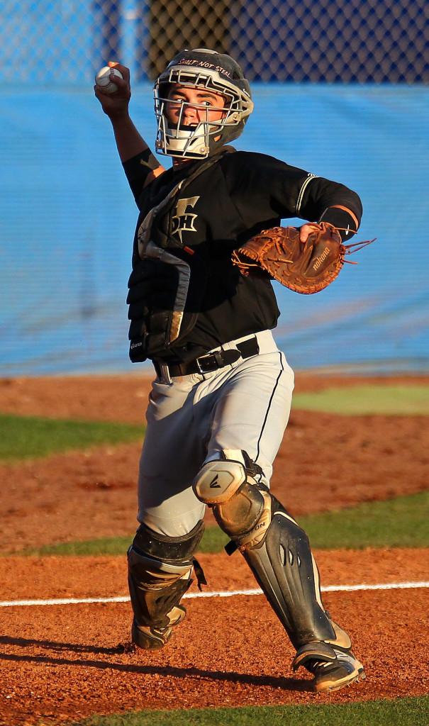 Desert Hills catcher Wyatt Bendall throws to first base, Desert Hills vs. Dixie, Baseball, St. George, Utah, Mar. 31, 2015 | Photo by Robert Hoppie, ASPpix.com, St. George News