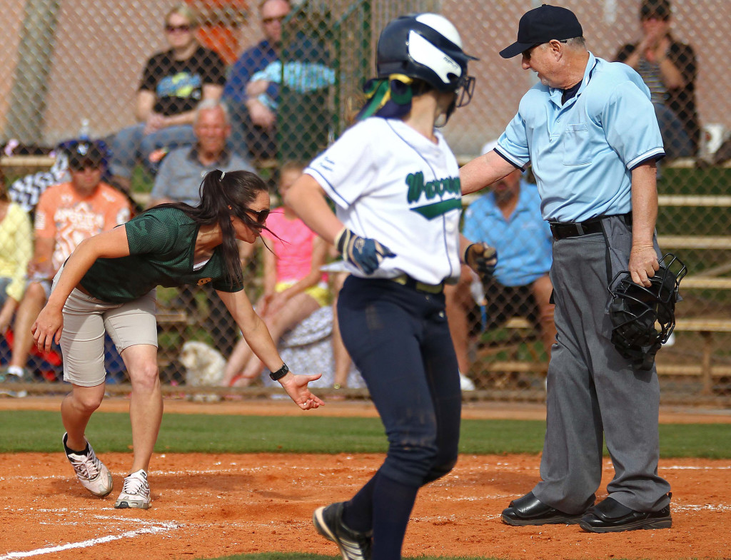 Snow Canyon head coach Tracee Heaton argues a call at home with the umpire, Canyon View vs. Snow Canyon, Softball, St. George, Utah, Apr. 1, 2015 | Photo by Robert Hoppie, ASPpix.com, St. George News