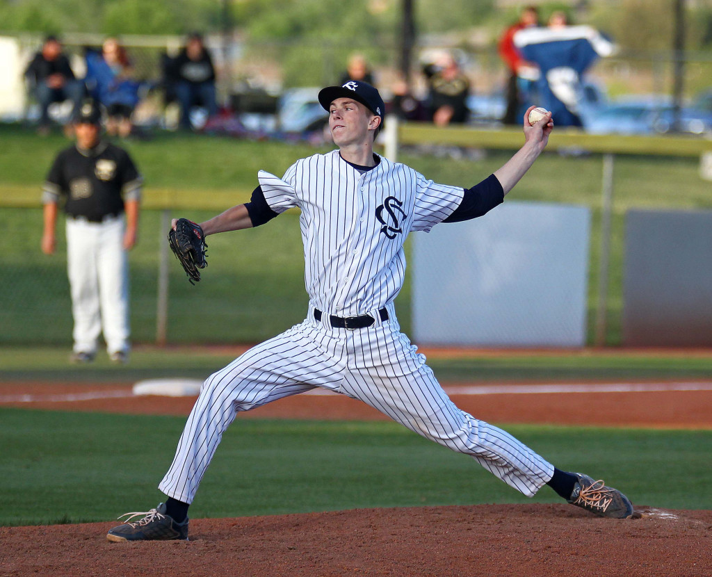 Warrior starting pitcher Jake Sargent, file photo from Desert Hills vs. Snow Canyon, Baseball, St. George, Utah, Apr. 7, 2015 | Photo by Robert Hoppie, ASPpix.com, St. George News