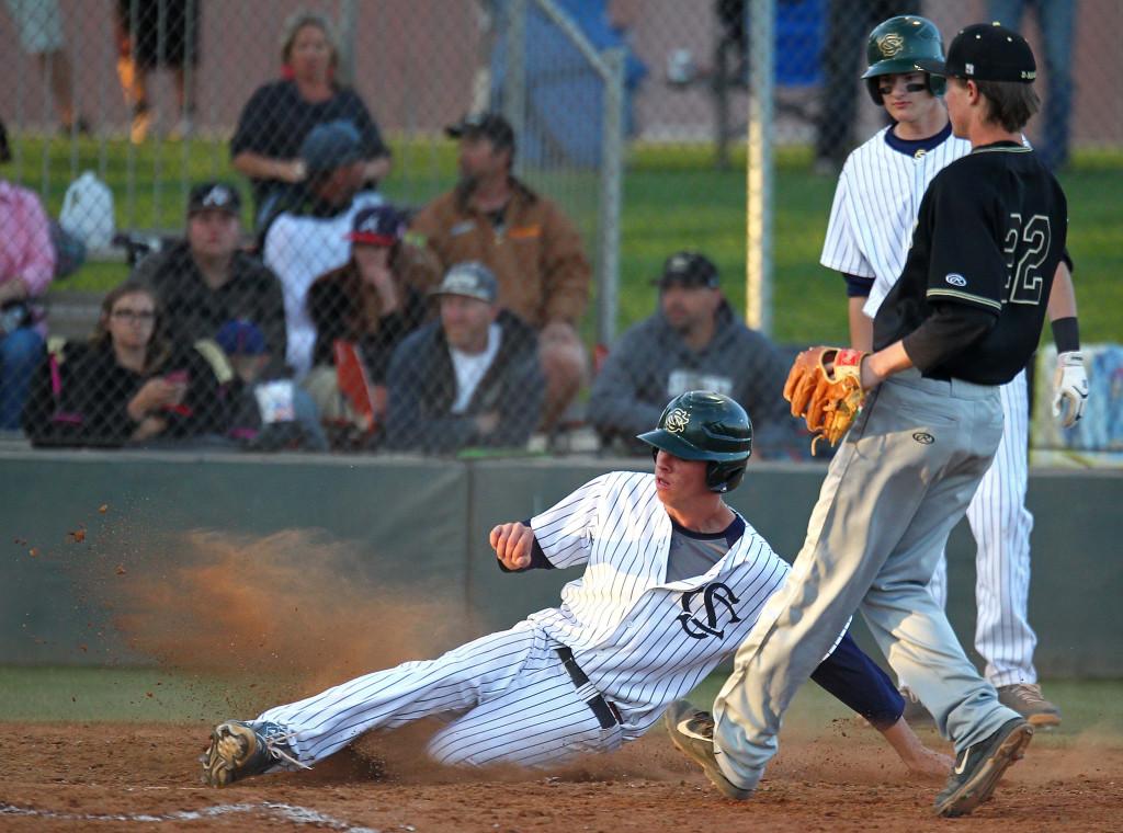 Koby Holyoak scores the Warriors first run on a passed ball, Desert Hills vs. Snow Canyon, Baseball, St. George, Utah, Apr. 7, 2015 | Photo by Robert Hoppie, ASPpix.com, St. George News
