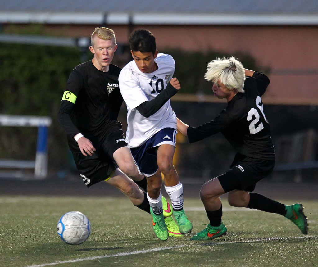 Angel Muniz (10) scored two goals for the Warriors, file photo from Desert Hills vs. Snow Canyon, Soccer, St. George, Utah, Apr. 7, 2015 | Photo by Robert Hoppie, ASPpix.com, St. George News