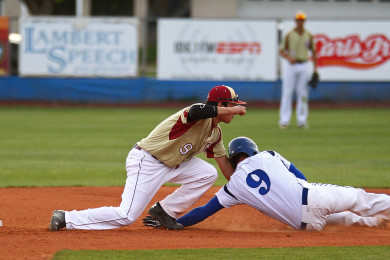Colin Hutchings steals second base for Dixie as the ball gets away from Cedars Rykker Tom, Cedar vs. Dixie, Baseball, St. George, Utah, Apr. 10, 2015 | Photo by Robert Hoppie, ASPpix.com, St. George News