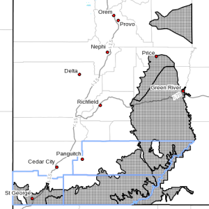 Dots denote areas subject to a High Wind Warning from 10 a.m. Tuesday to 11 a.m., Thursday, April 14-15, 2015 | Image courtesy of National Weather Service, St. George News | Click on image to enlarge