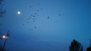 Balloons are released into the sky in honor of Shawn Multine, who was killed in a homicide in October 2014, Kaibab Paiute Reservation, Arizona, April 1, 2015 | Photo by Cami Cox Jim, St. George News