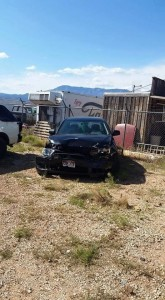 Ericka Reber's totaled Mitsubishi Lancer sits at an impound lot in Hurricane, Utah, April 22, 2015 | Photo courtesy of Ericka Reber, St. George News