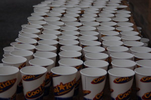 Hundreds of cups are prepared with water for runners as they traverse the 13.1 miles of the Southern Utah Half Marathon, St. George Utah, April 25, 2015 | Photo by Hollie Reina, St. George News