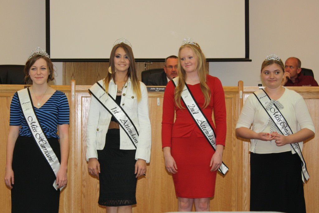 The new Hurricane City Royalty pose at the City Council Meeting; L-R: Miss Hurricane, Cameryn Sorge, 1st attendant Sabrina Holmes, 2nd attendant Mataya Rosander, and Miss Congeniality, Jennifer Humphries, April 2, 2015| Reuben Wadsworth, St. George News