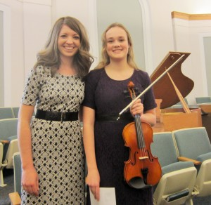 Marin Colby, Southern Utah String Festival Director, with Melissa Carlile at the Gold Cup recital, Cedar City, Utah, undated   Photo by Sara Penny, St. George News