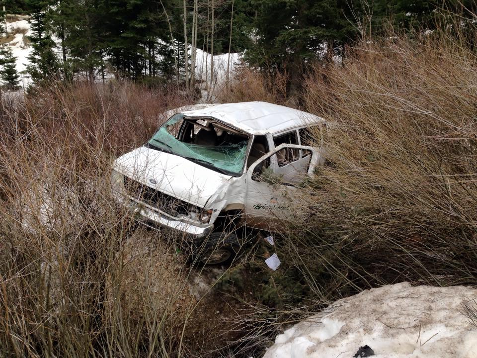 A 15 passenger Brian Head van rolled down a 150-foot ravine carrying 10 Brian Head employees, Iron County, Utah, April 6, 2015 | Photo courtesy of Jeremy Deloach, St. George News