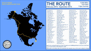The Keys to Freeze route from Key West, Florida to Deadhorse, Alaska, 2015 | Image courtesy of Keys to Freeze, St. George News