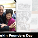 "Forefront L-R: Gov. Gary R. Herbert, Ardella Heiner. Heiner was honored as daughter of Henry and Susanna Gubler, one of the city's founding couples. LaVerkin ""Founders Day"" celebration, LaVerkin, Utah, April 25, 2015 