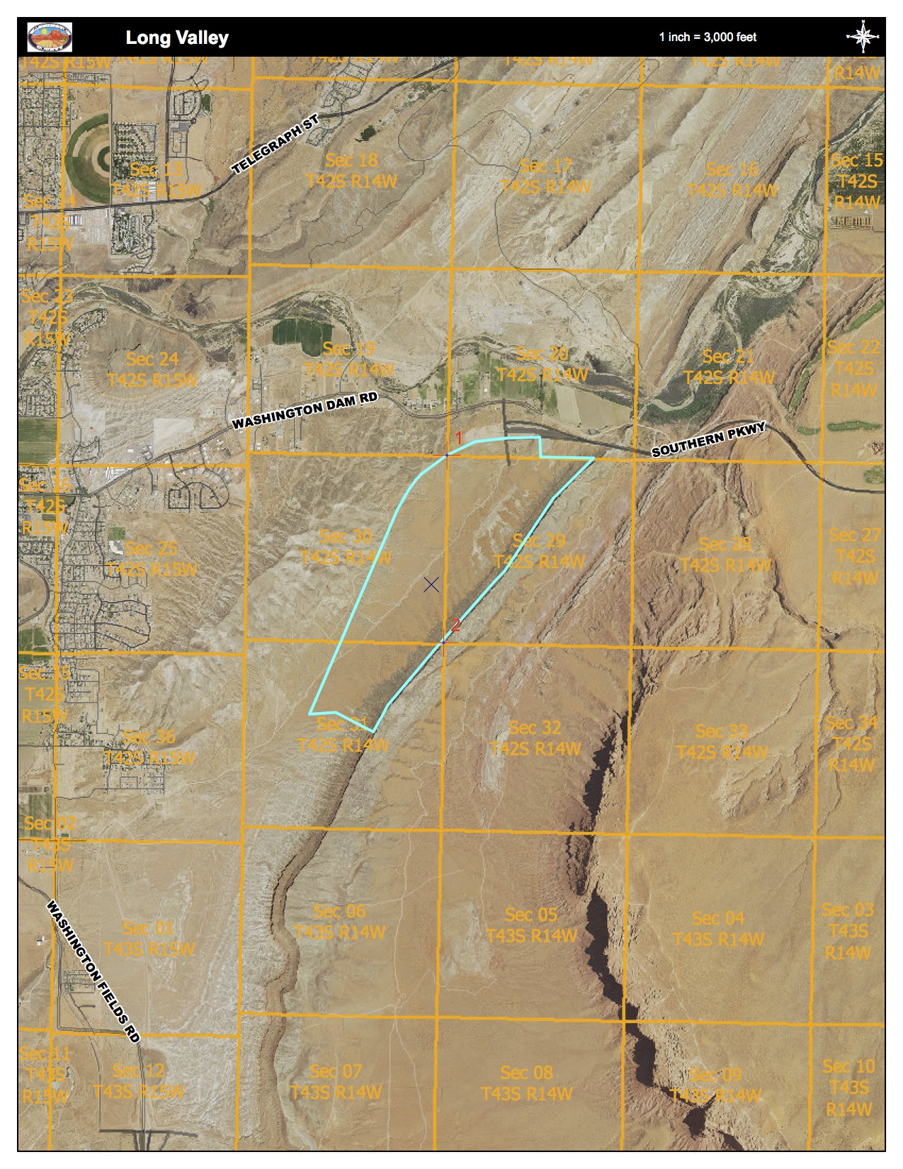 Proposed Long Valley exchange parcel | Image courtesy Washington County Geographical Information Systems, St. George News
