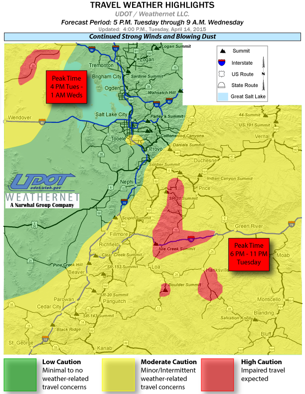 Travel weather highlights posted by Utah Department of Transportation, April 14, 2015, 4 p.m. | Image courtesy of UDOT, St. George News | Click on image to enlarge