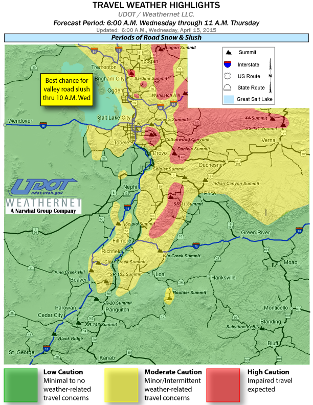 Travel weather highlights posted by Utah Department of Transportation, April 15, 2015, 6a.m. | Image courtesy of UDOT, St. George News | Click on image to enlarge