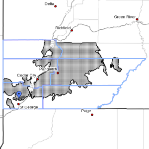 Dots denote areas subject to a High Wind Warning from 6 a.m. Tuesday to 11 a.m., Thursday, Apirl 14-15, 2015   Image courtesy of National Weather Service, St. George News   Click on image to enlarge