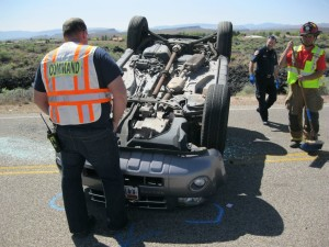 One person receives mild injuries in an SUV rollover on Pioneer Parkway, Santa Clara, Utah, April 3, 2015  | Photo by Ric Wayman, St. George News