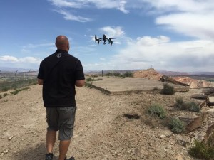Duane Fielding flies a drone over the Bloomington aviation arrow, St. George, Utah, April 21, 2015 | Photo by Dan Fowlks, St. George News