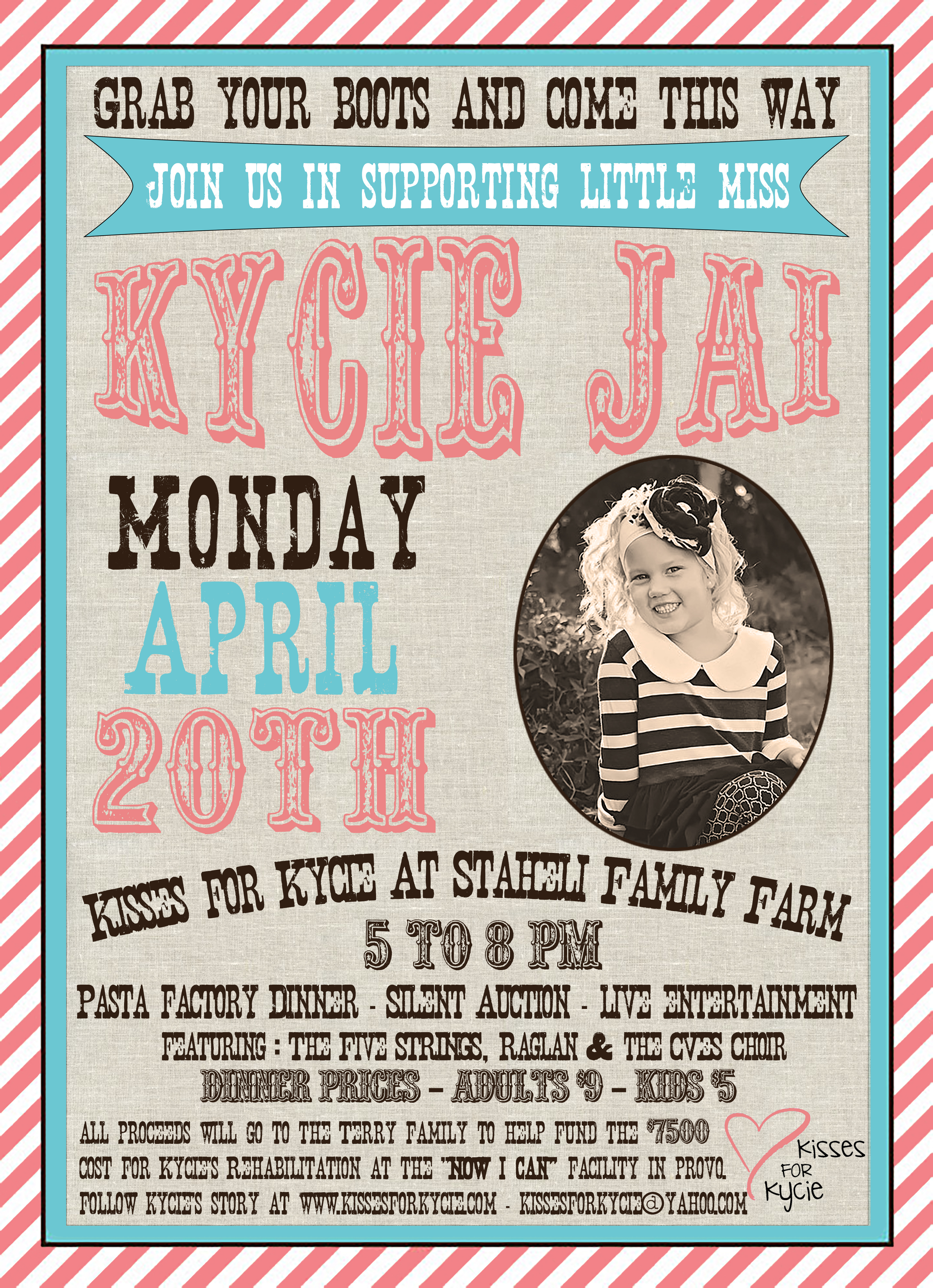 kisses for kycie benefit at staheli family farm community invited