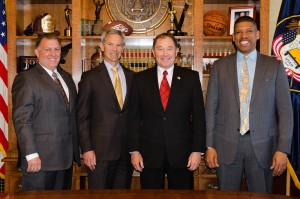 Gov. Gary Herbert, Salt Lake City Mayor Ralph Becker, Sacramento Mayor Kevin Johnson and Sen. Curtis Bramble pose for a picture after issuing a joint statement, Salt Lake City, Utah, April 9, 2015 | Photo courtesy of Aimee Edwards, St. George News