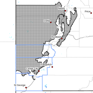 Dots denote areas subject to hard freeze warning, radar time 2:55 p.m., April 26, 2015 | Image courtesy of National Weather Service, St. George News
