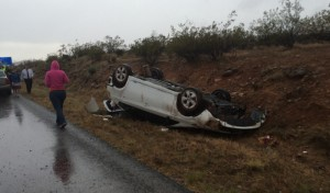 A Toyota Prius rolled on southbound I-15 near milepost 17 after hydroplaning. No one was injured in the crash, Washington County, Utah, April 25, 2015 | Photo by Mori Kessler, St. George News