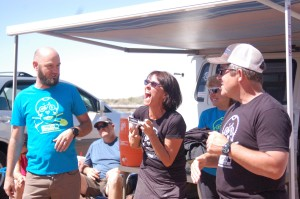L-R Lukas Brinkerhoff, Teena Christopherson and Monte Lutz promote the Dixie Mountain Bike Trails Association at the single track celebration, Hurricane, Utah, April 11, 2015 | Photo by Hollie Reina, St. George News