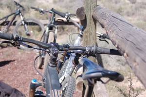 Bikes lined the parking lot of the JEM trail at the single track celebration held to celebrate the completion of new trails in the Hurricane Cliffs area, Hurricane, Utah, April 11, 2015 | Photo by Hollie Reina, St. George News
