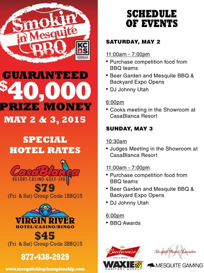 """Smokin' in Mesquite"" event flyer and schedule, Mesquite, Nevada 