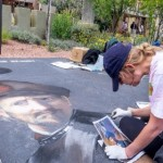 Rebecca Pletsch of Provo recreates a Rembrandt work in chalk at the Kayenta Street Painting Festival, Ivins, Utah, April 26, 2015 | Photo by Dave Amodt, St. George News