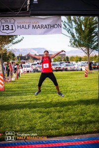 Runners jump for joy at the finish line of the Southern Utah Half Marathon, St. George, Utah, August, 2014 | Photo courtesy of Southern Utah Half Marathon, St. George News