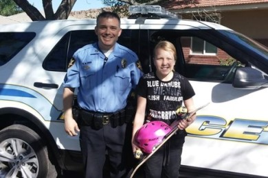 The St. George Police Department surprised an 11-year-old girl with a new skateboard, St. George, Utah, date unspecified | Photo courtesy of the St. George Police Department, St. George News