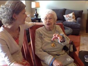 Merri Ellen Wright, left, and Lillian Grant at Grant's 100th birthday party, Westside Baptist Church, St. George, Utah, April 5, 2015   Photo by Ric Wayman, St. George News