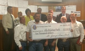 Members of the St. George Lions Club presented the St. George City Council with a donation of $10,000 for the All Abilities Park, St. George, Utah, April 16, 2015 | Photo by Mori Kessler, St. George News